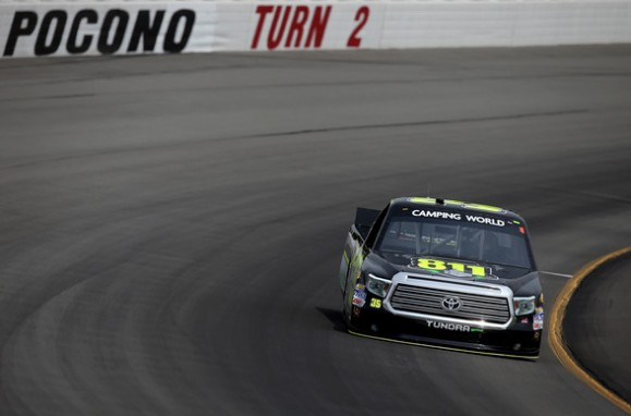 Mason Mingus, driver of the #35 Call 811 Toyota, drives during practice for the NASCAR Camping World Truck Series Pocono Mountains 150 at Pocono Raceway on August 1, 2014 in Long Pond, Pennsylvania. (Source: Sarah Glenn/Getty Images North America)